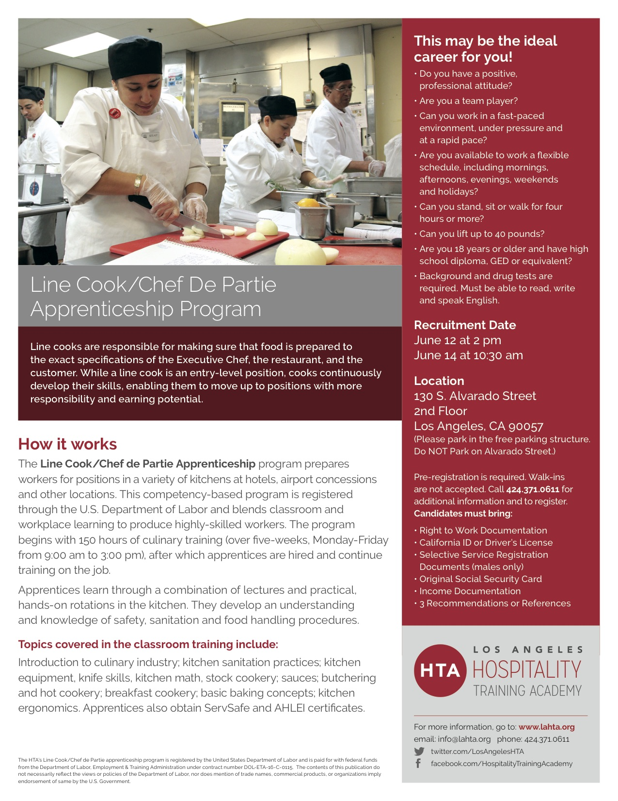 Our Newly Created Culinary Apprenticeship Program Has Launched!