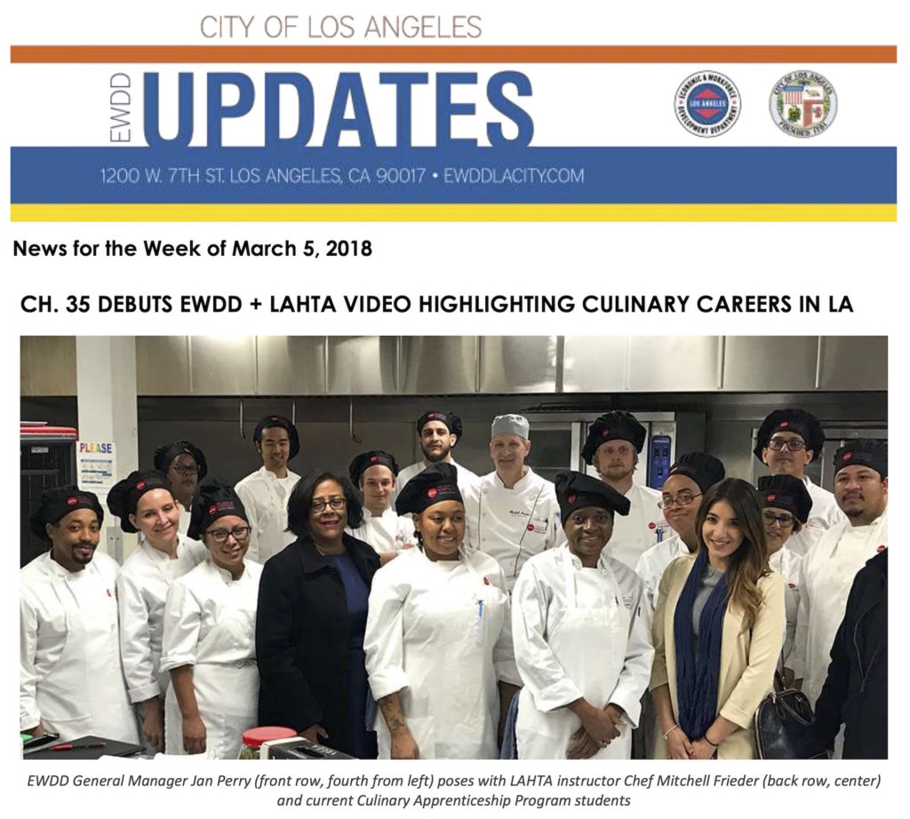 CH. 35 DEBUTS EWDD + LAHTA VIDEO HIGHLIGHTING CULINARY CAREERS IN LA