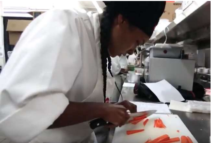 An LAHTA Culinary Apprenticeship Student Practices Her Knife Training By  Julienning Carrots, An Important Professional Kitchen Skill